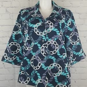Alfred Dunner blue chainlink print coat size 20W